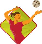 Volleyball Player Spike Ball Retro Stock Illustration