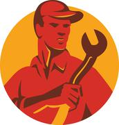 mechanic tradesman worker with spanner retro - stock illustration
