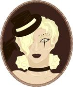Vintage portrait of pretty blond circus girl - stock illustration