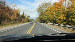 Ontario Autumn drive. Driving east on Hwy ON-35 Stock Footage