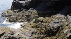 Ocean waves crash on rocks Stock Footage