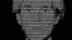 Animation of face of Andy Warhol with numbers running Stock Footage