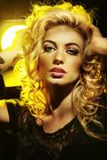Perfect complexion lady with curly hairstyle - stock photo