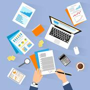 Business man document signing up contract agreement, Businessman laptop - stock illustration