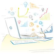 sketch hands using laptop drawing financial graph - stock illustration
