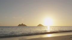 Beach sunrise at Lanikai Beach on Oahu Hawaii Stock Footage
