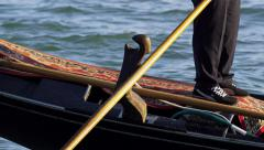 Gondolier Steers Gondola Grand Canal in Venice, Italy 4K Stock Video Footage Stock Footage