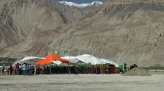 Festival Tent for Silk Route Festival 2013,Sumur,Ladakh,India Stock Footage