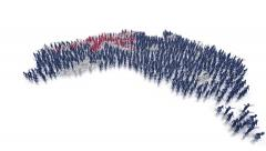 Australia flag and map made out of people Stock Footage