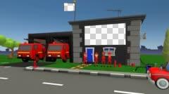 Fire Fighter Department Inspection - A 3D Cartoon Stock Footage