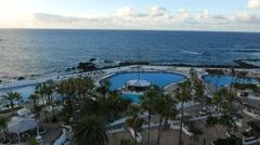 4K UHD Lago Martianez swimming pool Puerto de la Cruz Tenerife Canary islands Stock Footage