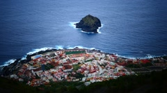 Garachico town from above in Tenerife island Canary islands Spain Stock Footage