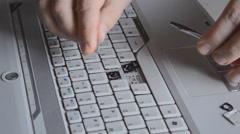 Disassembling Laptop Keyboard Stock Footage