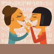 Gossiping Women - stock illustration