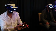 Virtual Reality Expo Sony Project Morpheus for Playstation 4 Stock Footage