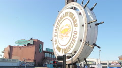 San Francisco with Fisherman's Wharf sign Stock Footage
