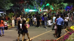 Night downtown in Saigon lunar new year Stock Footage