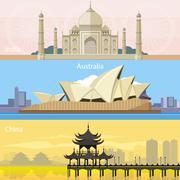 Australian, China and India - stock illustration
