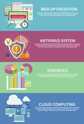 Stock Illustration of Antivirus system, cloud computing, statistics