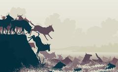 Wildebeest river crossing - stock illustration