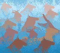 Wildebeest swimming river - stock illustration