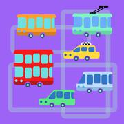 Collection urban public transport bus taxi trolley minibus Piirros