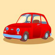 Small, family-run red car - stock illustration