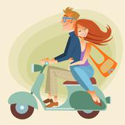 Lovers man and woman on retro bike going down the road Stock Illustration