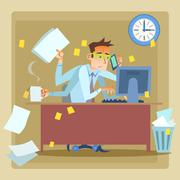 Businessman very busy at work Stock Illustration