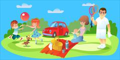 Family picnic, father, mother and children car - stock illustration