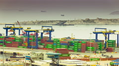 4K trading port, cargo, trucks, lot of activity, timelapse Stock Footage