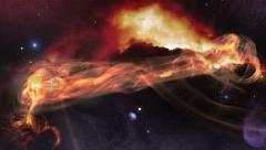 Fly along space gas nebula 4k UHD 11616 Stock Footage