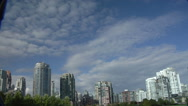 Stock Video Footage of Time Lapse.  City skyline.  Clear blue skies