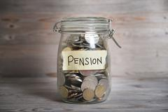 Money jar with pension label. Stock Photos