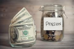 Financial concept with pension label. Stock Photos