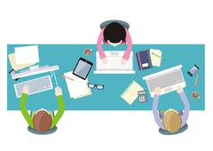 Office workers on meeting and brainstorming - stock illustration