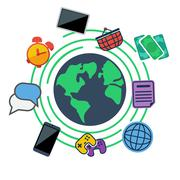 Earth surrounded web, social and media icons Stock Illustration