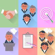 Business partnership, management, teamwork icons Stock Illustration