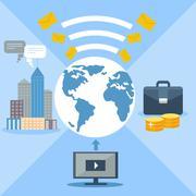 Concept for email marketing, global communication Stock Illustration
