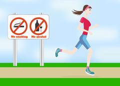 Running woman outdoors - stock illustration
