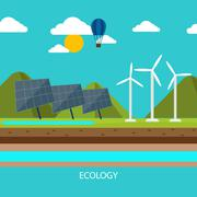 Renewable energy like hydro, solar and wind power Piirros
