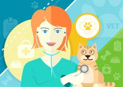 Veterinarian examining a cat with stethoscope - stock illustration