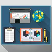 Concept of creative office workspace, workplace - stock illustration