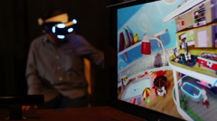 Virtual Reality Expo Sony Project Morpheus for Playstation 4 - stock footage