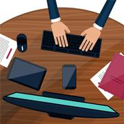 Business man working with laptop Stock Illustration