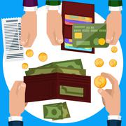 Businessmen hands with money Stock Illustration