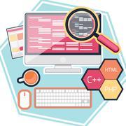 Flat design concept of program coding Stock Illustration