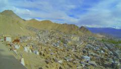 Lech panorama from the roof of the tower of the palace Namgyal Stock Footage