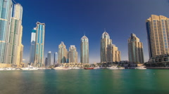 Stock Video Footage of DUBAI, UNITED ARAB EMIRATES, view on Dubai Marina Canal timelapse hyperlapse