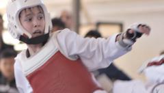 Taekwondo Boys Fight 2 - stock footage